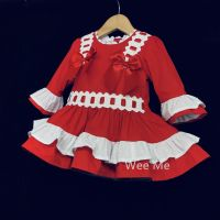Gorgeous  Baby Girl Red Spanish Long Sleeve Dress Two Bows